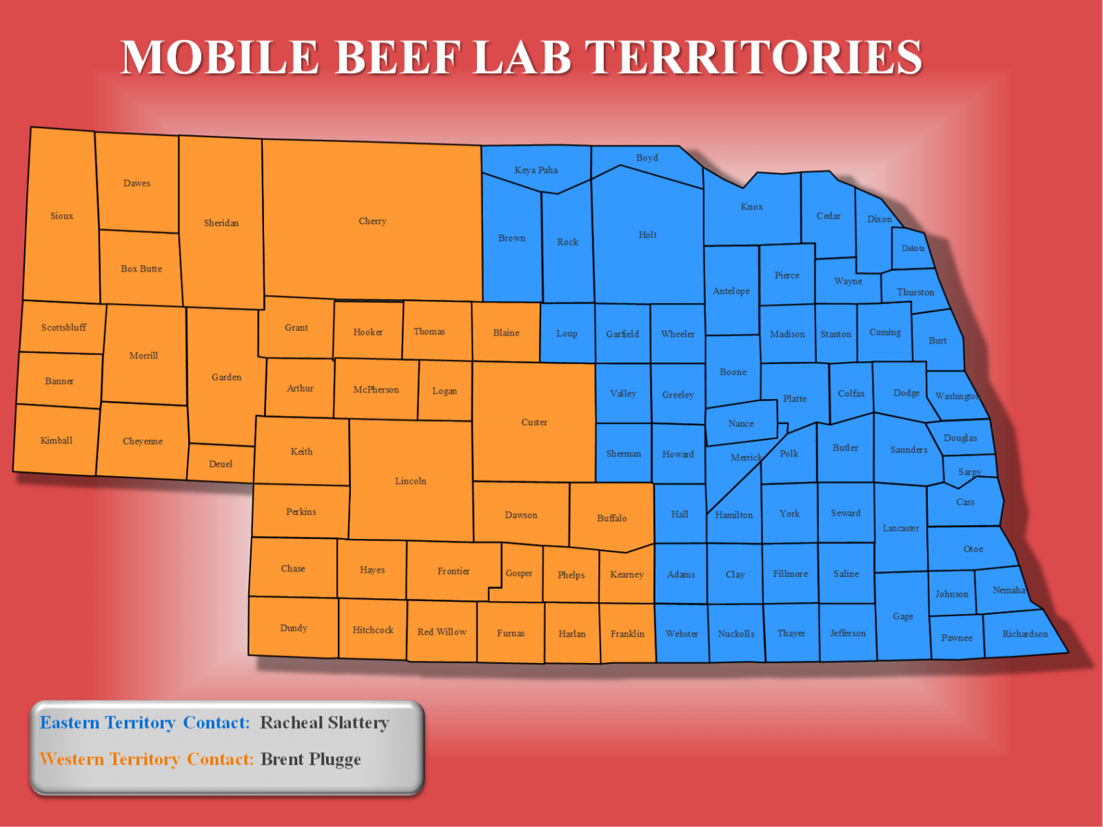 Territory map for UNL Husker Mobile Beef Lab